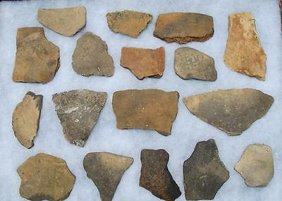 17 LARGE ALABAMA Indian Artifact-Mississippian Stamp Pottery Shards-EX. DR BURKE