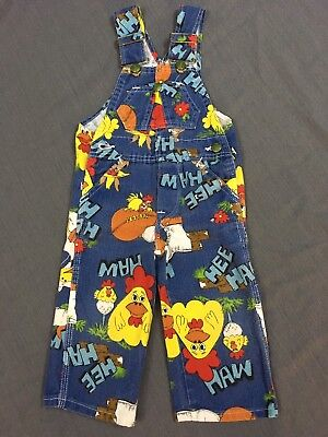 Hee Haw Overalls Vtg Liberty Bib Denim Child size 1 TV Show Chicken Donkey