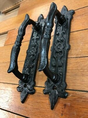 2 Black Barn Door Gate Handles Pulls Drawer cast iron antique style Ornate fancy