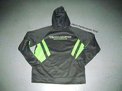 Men's Arctic Cat Team Sport Stripe Gray Lime Hoodie Sweatshirt L XL 2X 5283-126