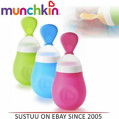 Munchkin Baby Puree Odour-resistant Silicone Feeding Non-toxic Squeeze Spoon +4m