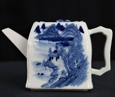 Rare Old Chinese White And Blue Porcelain Landscape Teapot Mark QianLong FA341