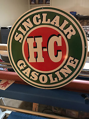 "Hc Sinclair 30"" Gasoline Vintage Look Sign High Quality Texaco Amoco Esso"