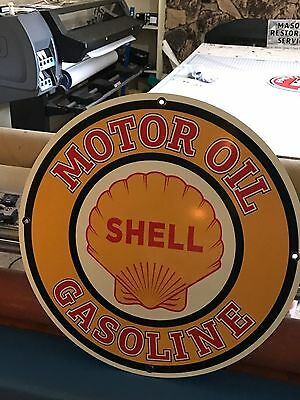 "Shell Gas Oil Sign Large 24"" Antique Porcelain Look Vintage Old Style Garage Art"