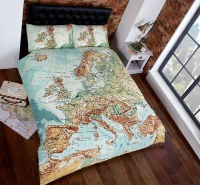 Vintage Map World Blue Green Natural Retro Traveller Bedding Single Double King