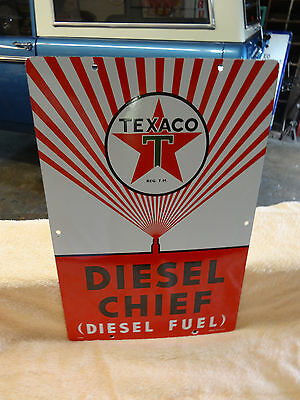 Old Texaco Diesel Chief Pump Badge Sign Porcelain