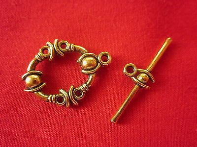 5 Gold Colour 20x10mm Toggle Clasps #2642