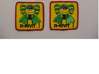 "Lot Of 3 Vintage Rivit Frog  Patch Embroidered 70's -Iron On Patch- 3""x3"""