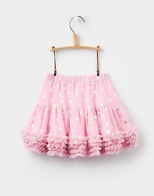 Joules Girls Lilian Tutu Skirt with Frill Hem & Foils Spots in Rose Pink