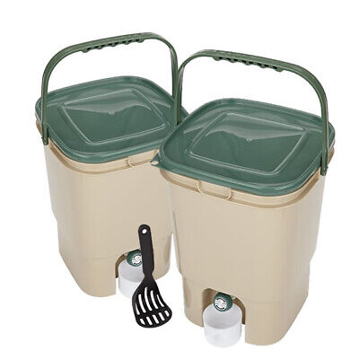 TWIN PACK, 2 x 23L Litre SQUARE BOKASHI COMPOSTER, Compost Bin with Handle, NEW