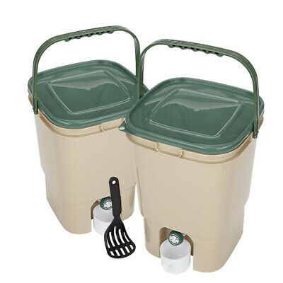 TWIN PACK, 2 x 23L SQUARE BOKASHI COMPOSTER, Compost Bin with Handle, NEW