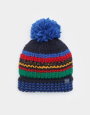 Joules Boys Bobbie Warm Knitted Hat with Bobble in Multicolour Stripes