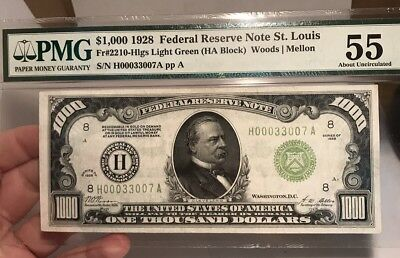 $1000 1928 Federal Reserve Note St. Louis PMG 55 Woods/Mellon