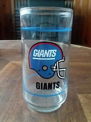 Vintage 80s NY Giants Glass NFL Mobil Gasoline