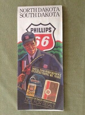 Vintage Phillips 66 North And South Dakota Road Map Coke Ad On Back