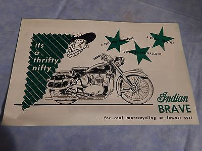 Advertising Sheet for the  Indian Brave Motorcycle