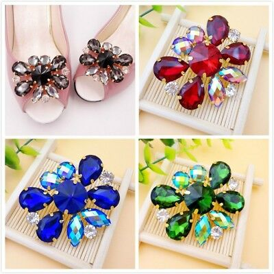 A Pair Color Rhinestone Crystal Shoe Clip Lady Wedding Boots Charm Jewelry Decor