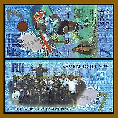 Fiji 7 Dollars, 2016, P-120, UNC,Rugby 7s Gold Olympians Summer Olympics Brazil