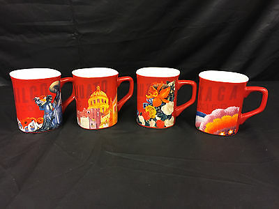 Set of 4 Nescafe Clasico Mexico Themed Mugs Coffee Tea Cups Red