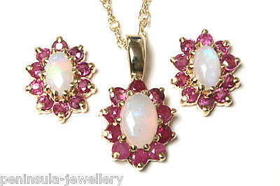 9ct Gold Opal and Ruby Pendant and Earring set Gift Boxed Made in UK