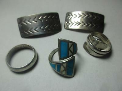 Vintage Mexican Silver Jewelry .925  Ear Rings & Rings  Turquoise 35.8 Gr