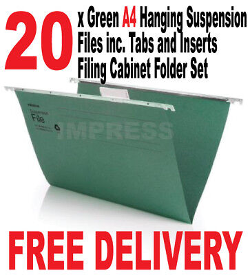 20x A4 Green Hanging Suspension Files inc Tabs Inserts Folders Filing Cabinet