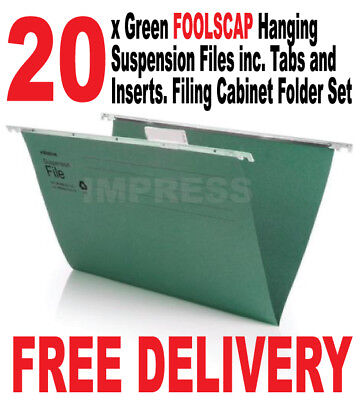 20 x Foolscap Green Hanging Suspension Files inc. Tabs Inserts Filing Cabinet
