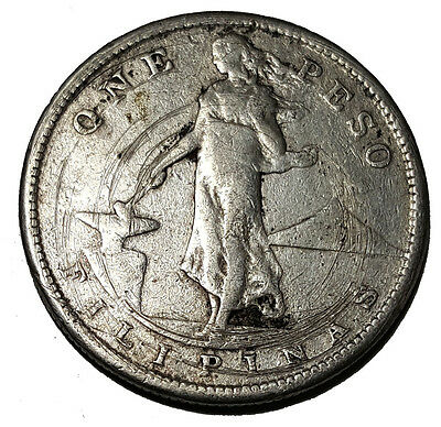 Philippines 1908-S Silver Peso Circ Cleaned (Inv 4066)