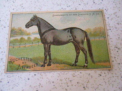 """Antique Trade Card,""""domestic Sewing Machines"""", Rochester By Aberdeen, Race Horse"""