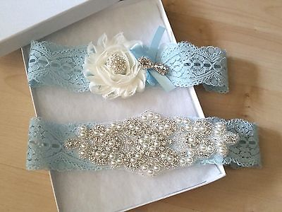 Wedding garter, Bridal Garter Set - Something Blue Wedding Garter Set