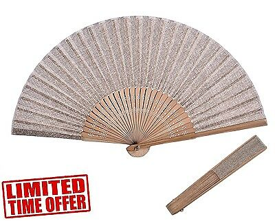 Hand Held Fan Folding Hand Fans Bamboo and Strong Fabric Handheld Beautiful Gift