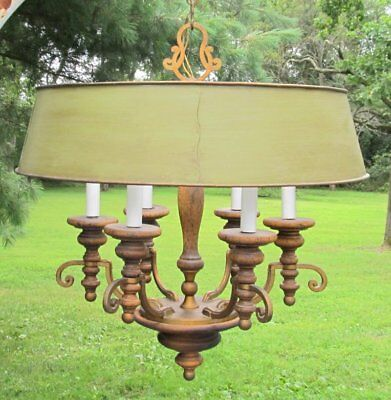 Vintage Italy Italian Tole Metal Olive Wood French Bouillotte 6 Light Chandelier