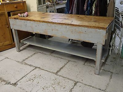 Industrial pine kitchen island with removable undertier