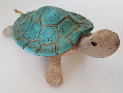 Rare Turtle Container with Shell as Lid SIGNED Vera Russell Turquoise 22k Gold