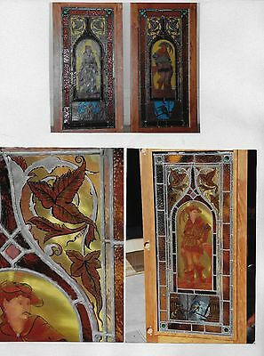 REDUCED !!! PAIR_VINTAGE STAINED GLASS w/MEDIEVAL FIGURES value $8800 MUST SELL