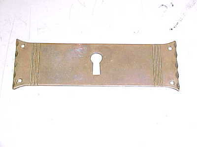 "VINTAGE OLD ANTIQUE 1 1/4 x 4"" BRASS ESCUTCHEON PLATE KEYHOLE KEY HOLE COVER"