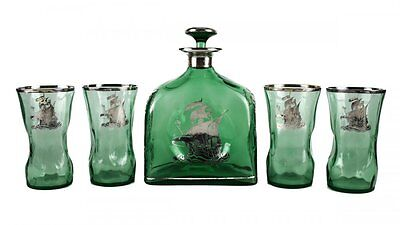 American Silver Overlay Green Glass Decanter & Glasses Nautical Ships 19th C.