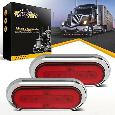 """(2) Chrome 33 LED Red 6"""" Oval Truck Trailer Boat Stop Turn Tail Brake Glo Lights"""