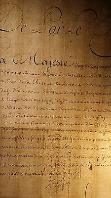 KING LOUIS XV AUTOGRAPH DOCUMENT - 1751 Regiment Militaria Infantry
