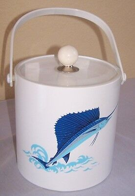 Vintage SAILFISH big game white ICE BUCKET cooler 1980s Perfect Condition