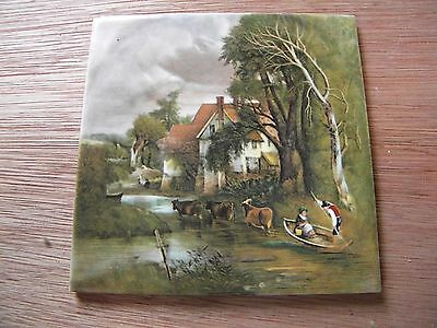 Hanging Wall Tile/Trivet Picturesque Trees, House, Cows, People in Boat Scene