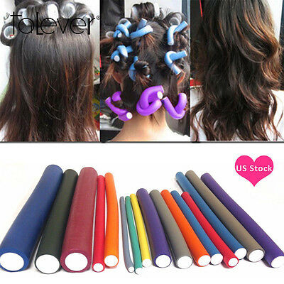 US 10Pcs Curler Makers Foam Bendy Twist Curls Tool Helper Styling Hair Rollers