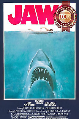 NEW JAWS 1 1975 70s CLASSIC OFFICIAL ORIGINAL MOVIE FILM PRINT PREMIUM POSTER