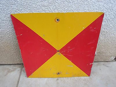 Railroad Train Red Yellow Caution Warning Sign Man Cave Decor