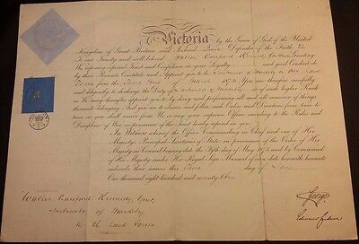 Prince George Autograph Royal Military Document Commission Queen Victoria - 1873