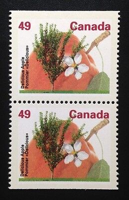 Canada #1364a CP 14.4 MNH, Delicious Apple Tree Booklet Pair of Stamps 1992