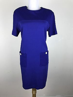 Vintage 90s Talbots Dress Size Small Cotton Blue Shift Casual Short Sleeves