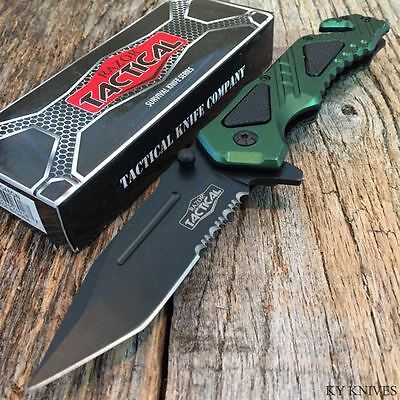 RAZOR TACTICAL Spring Assisted Open TACTICAL Rescue Pocket Knife BOWIE Green.