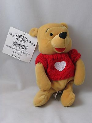 Pooh With Red Sweater Disney Bean Bag Plush Toy