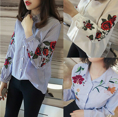 Fashion Women Casual Long Sleeve Floral Shirt Loose Summer T-shirt Tops Blouse